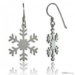Sterling Silver Dangle Snowflake Earrings, 1 3/8 in. (35 mm) tall