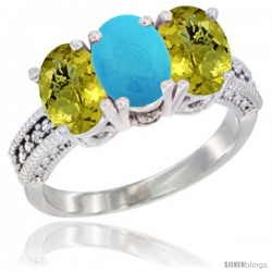 10K White Gold Natural Turquoise & Lemon Quartz Sides Ring 3-Stone Oval 7x5 mm Diamond Accent