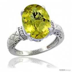10k White Gold Diamond Lemon Quartz Ring 5.5 ct Oval 14x10 Stone