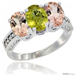 14K White Gold Natural Lemon Quartz & Morganite Sides Ring 3-Stone Oval 7x5 mm Diamond Accent