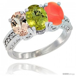 14K White Gold Natural Morganite, Lemon Quartz & Coral Ring 3-Stone Oval 7x5 mm Diamond Accent