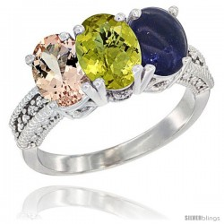 14K White Gold Natural Morganite, Lemon Quartz & Lapis Ring 3-Stone Oval 7x5 mm Diamond Accent