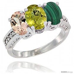 14K White Gold Natural Morganite, Lemon Quartz & Malachite Ring 3-Stone Oval 7x5 mm Diamond Accent