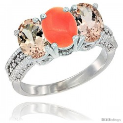 14K White Gold Natural Coral & Morganite Sides Ring 3-Stone Oval 7x5 mm Diamond Accent