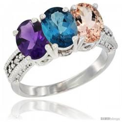 10K White Gold Natural Amethyst, London Blue Topaz & Morganite Ring 3-Stone Oval 7x5 mm Diamond Accent