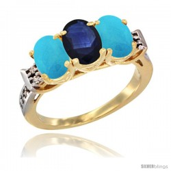 10K Yellow Gold Natural Blue Sapphire & Turquoise Sides Ring 3-Stone Oval 7x5 mm Diamond Accent