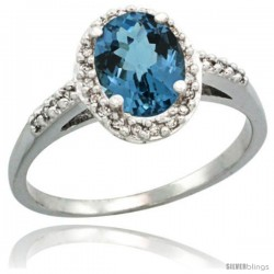 Sterling Silver Diamond Natural London Blue Topaz Ring Oval Stone 8x6 mm 1.17 ct 3/8 in wide