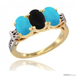 10K Yellow Gold Natural Black Onyx & Turquoise Sides Ring 3-Stone Oval 7x5 mm Diamond Accent