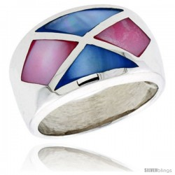 "Sterling Silver Crisscross Design Dome Shell Ring, w/Pink & Blue Mother of Pearl Inlay, 9/16"" (14 mm) wide"