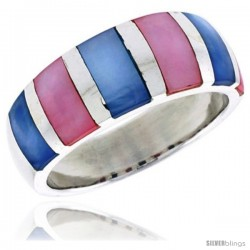 "Sterling Silver Striped Dome Shell Ring, w/Pink & White Mother of Pearl Inlay, 3/8"" (9 mm) wide"