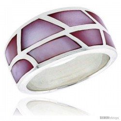 "Sterling Silver Dome Shell Ring, w/Pink Mother of Pearl Inlay, 1/2"" (12.5 mm) wide"