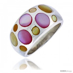"Sterling Silver Bubble Design Dome Shell Ring, w/Colorful Mother of Pearl Inlay, 1/2"" (13 mm) wide"