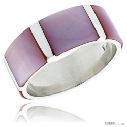 "Sterling Silver Flat Band, w/Pink Mother of Pearl Inlay, 3/8"" (10 mm) wide"