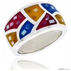 "Sterling Silver Dome Band, w/Colorful Mother of Pearl Inlay, 1/2"" (13 mm) wide"