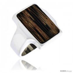 "Sterling Silver Rectangular Ring, w/ Ancient Wood Inlay, 7/8"" (22 mm) wide"