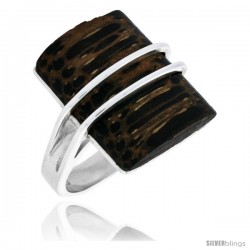 "Sterling Silver Rectangular Ring, w/ Ancient Wood Inlay, 15/16"" (24 mm) wide"