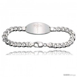 Gent's Sterling Silver Medical ID Bracelet, 13/16 in wide Nickel Free