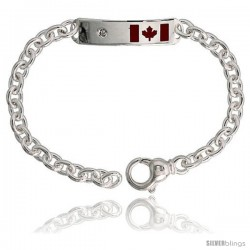 "Sterling Silver Heavy 9"" adjustable, Canadian Flag ID Bracelet, 3/8"" (10 mm) wide"