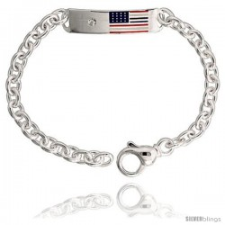 "Sterling Silver Heavy 9"" Adjustable, American Flag ID Bracelet, 3/8"" (10 mm) wide"