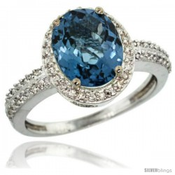 Sterling Silver Diamond Natural London Blue Topaz Ring Oval Stone 10x8 mm 2.4 ct 1/2 in wide