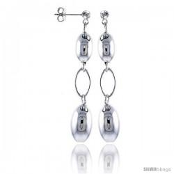 """2 1/4"""" Long Sterling Silver Italian Drop Earrings w/ Large Oval Beads"""