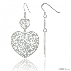 Sterling Silver Double Heart Filigree Dangle Earrings, 2 1/16 in. (53 mm) tall