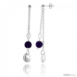 "Sterling Silver Heart Cut Out in Round Disc Dangling Earrings, w/ Synthetic Amethyst Bead, 2 7/16"" (62 mm) tall"
