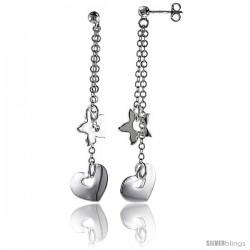 "Sterling Silver Starfish & Heart Dangling Earrings, 2"" (50 mm) tall"