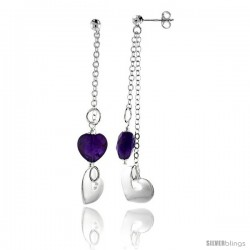 "Sterling Silver Heart Dangling Earrings, w/ Heart-shaped Synthetic Amethyst, 1 15/16"" (49 mm) tall"