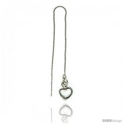 """Sterling Silver Italian Heart Thread Earrings total length 4 1/4"""" Long"""
