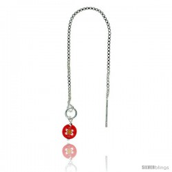 """Sterling Silver Italian Threader Earrings with Red Venetian Glass drop total length 4 1/2"""" Long"""