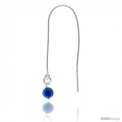 "Sterling Silver Italian Threader Earrings with Blue Venetian Glass drop total length 4 1/2"" Long"