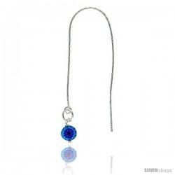 "Sterling Silver Italian Threader Earrings with Blue Venetian Glass drop total length 4 1/2"" Long"