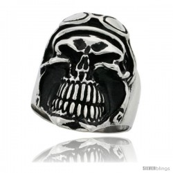 Surgical Steel Biker Skull Ring with Helmet and Goggles 1 1/4 in wide -Style Rss117