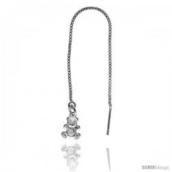 "Sterling Silver Italian Threader Earrings with Teddy Bear drop total length 4 1/2"" Long"