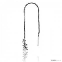 "Sterling Silver Italian Threader Earrings with Teddy Bear drop total length 4 1/2"" Long -Style Iet22"