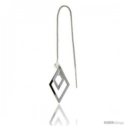"Sterling Silver Italian Thread Earrings with Diamond shape drop total length 4 1/2"" Long"