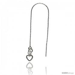 "Sterling Silver Italian Threader Earrings with Open Heart drop total length 4 1/2"" Long"