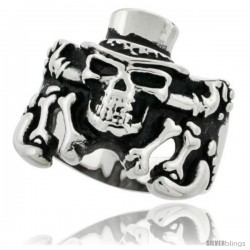 Surgical Steel Biker Ring Skeleton with Top Hat 7/8 in wide