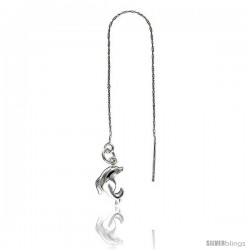 """Sterling Silver Italian Threader Earrings with Dolphin drop total length 4 1/2"""" Long"""