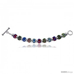 "Sterling Silver 8 in Italian Charm Bracelet, w/ Venetian Beads and Toggle Clasp, 7/16"" (11 mm) wide"