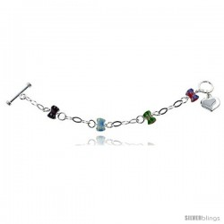 """Sterling Silver 8 in Italian Charm Bracelet w/ Venetian Beads Dangle Heart and Toggle Clasp, 7/16"""" (11 mm) wide"""
