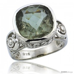 Sterling Silver Bali Inspired Square Filigree Ring w/ 11mm Cushion Cut Natural Green Amethyst Stone, 9/16 in. (14 mm) wide