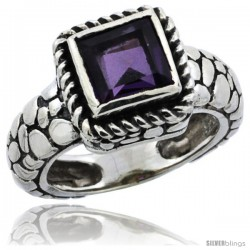 Sterling Silver Bali Inspired Square Ring w/ 6mm Princess Cut Natural Amethyst Stone, 7/16 in. (11 mm) wide