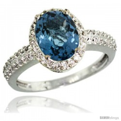 Sterling Silver Diamond Natural London Blue Topaz Ring Oval Stone 9x7 mm 1.76 ct 1/2 in wide