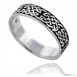 Sterling Silver Celtic Knot Wedding Band / Thumb Ring 3/16 in wide