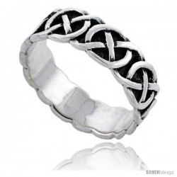 Sterling Silver Celtic Knot Wedding Band / Thumb Ring 1/4 in wide, 1/4 in wide