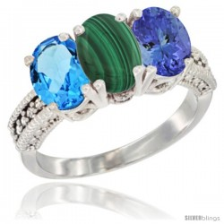 14K White Gold Natural Swiss Blue Topaz, Malachite & Tanzanite Ring 3-Stone 7x5 mm Oval Diamond Accent