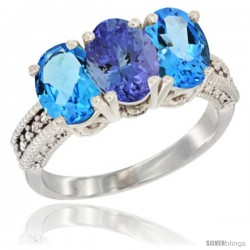 14K White Gold Natural Tanzanite & Swiss Blue Topaz Sides Ring 3-Stone 7x5 mm Oval Diamond Accent