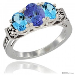 14K White Gold Natural Tanzanite & Swiss Blue Topaz Ring 3-Stone Oval with Diamond Accent